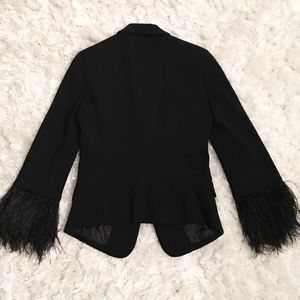 Elizabeth and James Ostrich feather cuff blazer